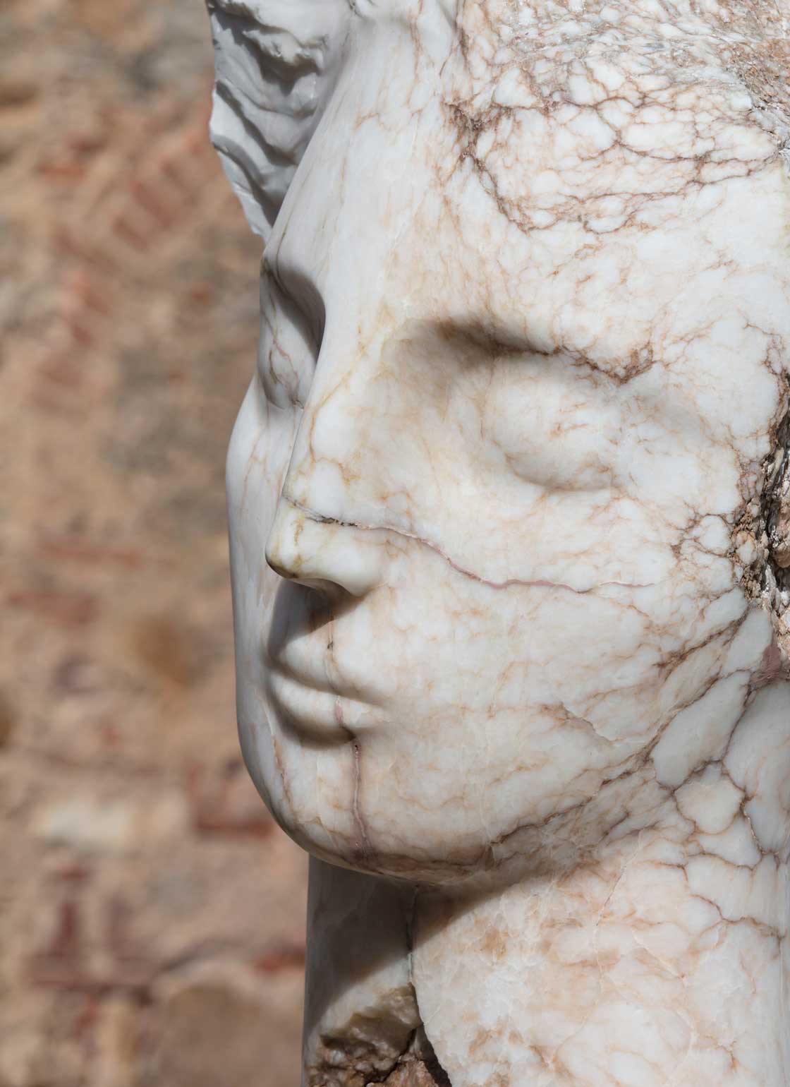 Emily Young - Contemplative Head, Spanish Alabaster, Unique, 2017